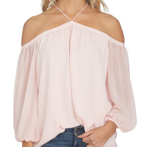 1.State Off the Shoulder Sheer Chiffon Blouse Pink